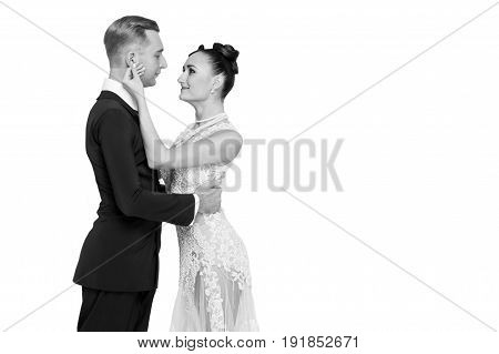 Ballrom Dance Couple In Love, Holding Hands Isolated On White Bachground