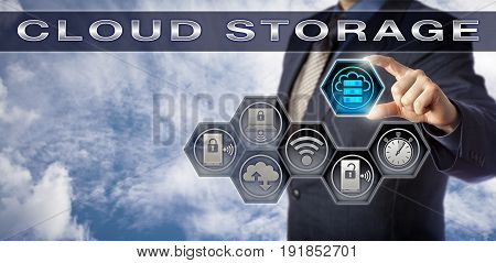 Blue chip data manager plugging virtual storage capacity icon into CLOUD STORAGE application interface. Technology concept for virtualized infrastructure near-instant elasticity and cloud computing.