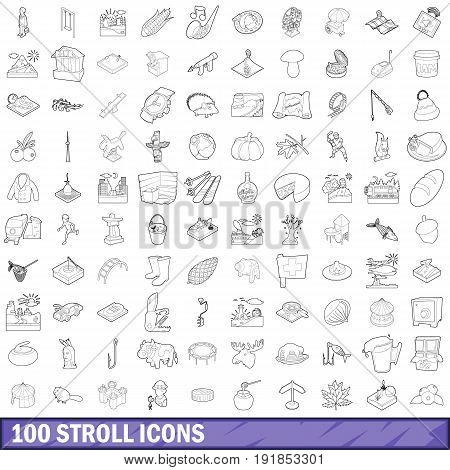 100 stroll icons set in outline style for any design vector illustration