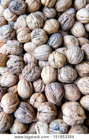 Circassian walnut background or texture healthy food with a lot of vitamins. nutrition