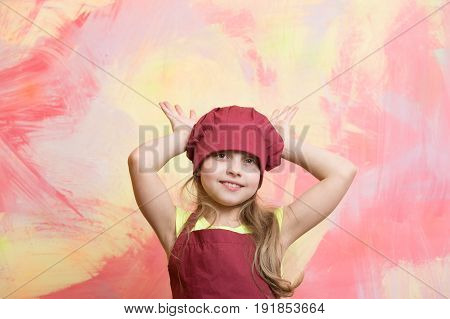 Chef Kid, Happy Girl Cook In Red Chef Hat, Apron