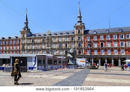 MADRID, SPAIN - MAY 24, 2017: The Plaza Major is one of the main squares of the city built in the style of the Madrid baroque.