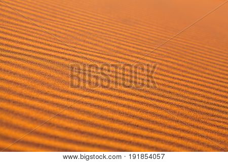Sand dunes in Sahara desert on blue sky background