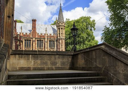 LONDON, GREAT BRITAIN - MAY 23, 2014: This is the Lincoln-Inn chapel located in the old judicial district of the city.