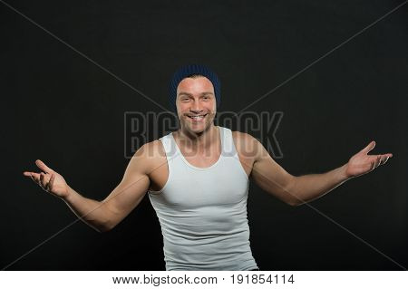 Man Or Sexy Happy Guy With Muscular Hands