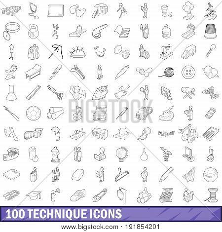 100 technique icons set in outline style for any design vector illustration