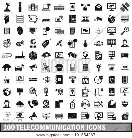 100 telecommunication icons set in simple style for any design vector illustration