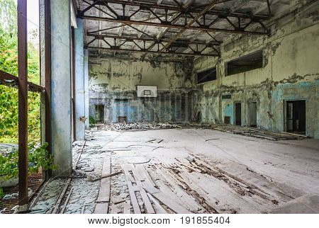 Gym in school in abandoned Pripyat city in Chernobyl Exclusion Zone Ukraine
