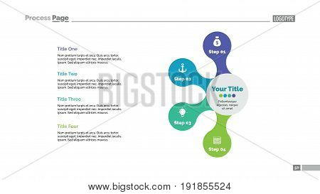 Four connected circles process chart slide template. Business data. Graph, diagram, design. Creative concept for infographic, presentation. Can be used for topics like management, strategy, training.