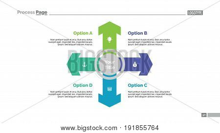 Four directions process chart. Business data. Arrow, diagram, design. Creative concept for infographic, templates, presentation, marketing. For topics like management, strategy, economics.