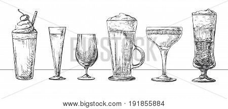 Set of different glasses different cocktails. Vector illustration of a sketch style.