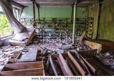 Abandoned school in Pripyat city in Chernobyl Exclusion Zone Ukraine
