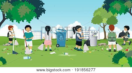 Children are cleaning in the garden with a playground.
