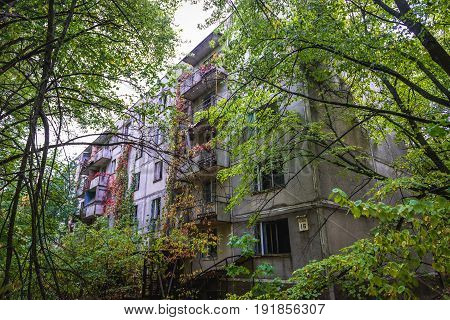 Apartment house in abandoned Pripyat city in Chernobyl Exclusion Zone Ukraine