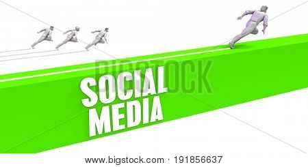 Social Media as a Fast Track To Success 3D Illustration Render