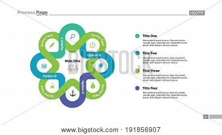 Four options process chart slide template. Business data. Graphic, diagram, design. Creative concept for infographic, presentation. Can be used for topics like management, strategy, training.