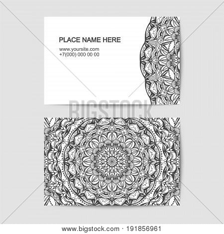 visit card template with lace pattern. Black and white