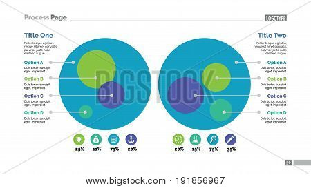 Four options process chart slide template. Business data. Circle, diagram, design. Creative concept for infographic, presentation. Can be used for topics like management, strategy, training.