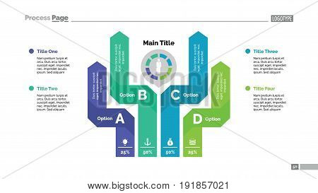 Four options process chart. Business data. Graph, diagram, design. Creative concept for infographic, templates, presentation, report. Can be used for topics like marketing, finance, banking.