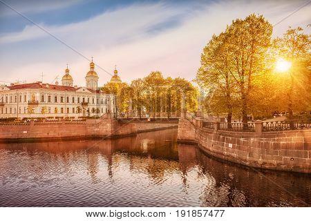 Kryukov canal Krasnogvardeysky bridge in the background St. Nicholas Naval Cathedral St. Petersburg