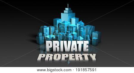 Private Property Concept in Blue on Black Background 3D Illustration Render