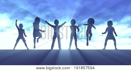 Children Playing Outside. Silhouette of Kids Concept 3D Illustration Render