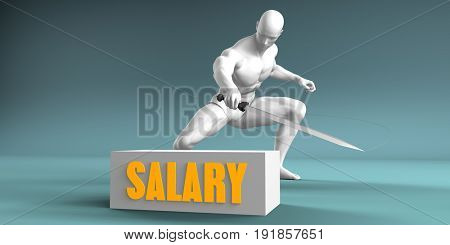 Cutting Salary and Cut or Reduce Concept 3D Illustration Render