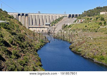 Dam On The River Tajo At Alcantara, Caceres Province, Extremadura, Spain