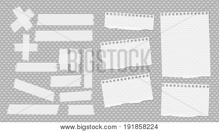 White ripped notebook, copybook sheets, sticky, adhesive tape stuck on grey dotted pattern
