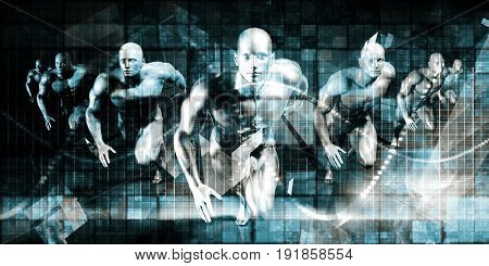 Business Men Running Technology Abstract Background Art 3D Illustration Render