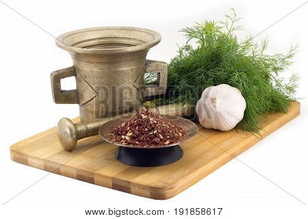 Composition Of Spices, Mix Voor Bruschetta, Dill, Garlic, Vintage Spice Grinder Isolated On White Ba
