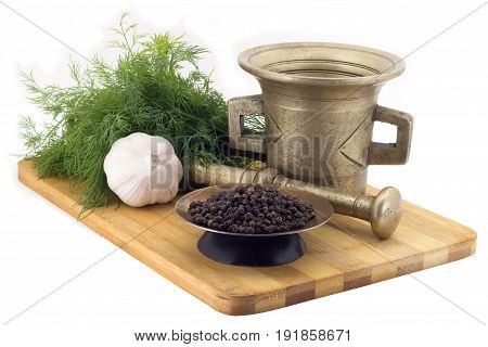 Composition Of Spices,malabar Pepper , Dill, Garlic, Vintage Spice Grinder Isolated On White Backgro