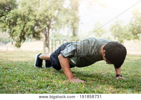 Sport Fitness Man Push-ups.