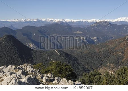 View Of The Pyrenees From The Mare De Deu Del Mon Albanya, Girona Province, Catalonia