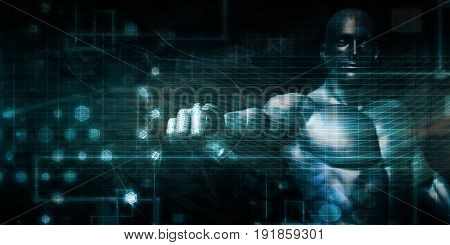 Man Working with Virtual Data on the Cloud Internet 3D Illustration Render