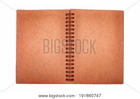 Opened old note book with blank brown paper on white background