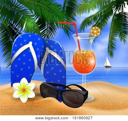 Exotic cocktail on a beach background with flip-flops vector