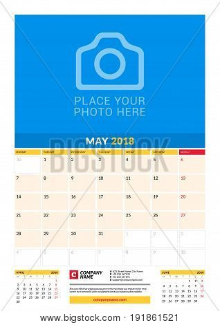 Vector Monthly Calendar Planner Template For 2018 Year. May. Vector Design Print Template With Place