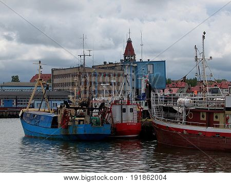 Wladyslawowo, Poland - June 10, 2017 Fishing boats in the seaport Wladyslawowo.