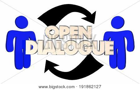 Open Dialogue Two People Arrows Communication 3d Illustration