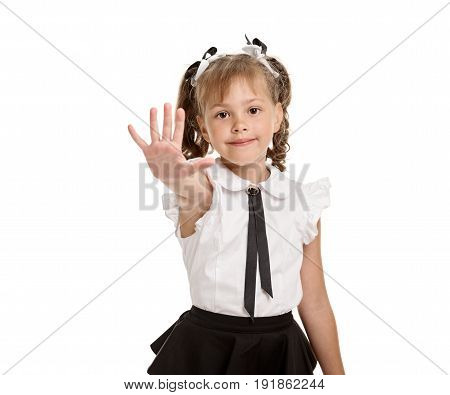 Cute happy smiling schoolgirl showing five fingers