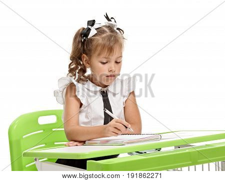 Young girl doing task and writing in exercise book