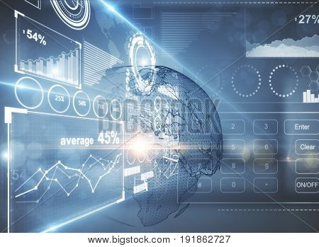 Side view of abstract digital business screen in blurry interior. Network concept. 3D Rendering