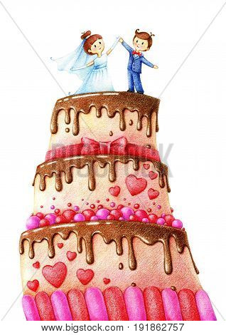 hands drawn picture of wedding cake with chocolate glaze, groom and fiancee by the color pencils on white background