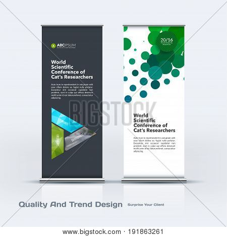 Abstract business vector set of modern roll Up Banner stand design template with colourful triangles for eco, market, exhibition, show, expo, presentation, parade, events.