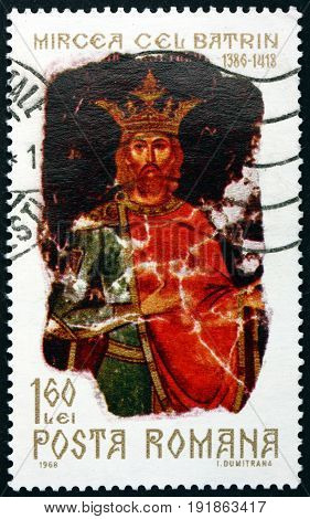 ROMANIA - CIRCA 1968: a stamp printed in Romania shows Mircea the Elder Prince of Wallachia circa 1968