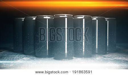 Front view of blank aluminium beverage cans on grey background illuminated from above. Packaging concept. Mock up 3D Rendering