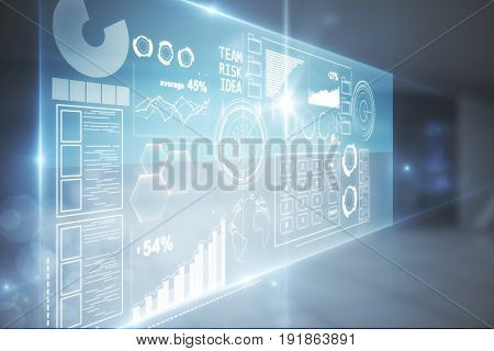 Side view of abstract digital business screen in blurry interior. Success concept. 3D Rendering