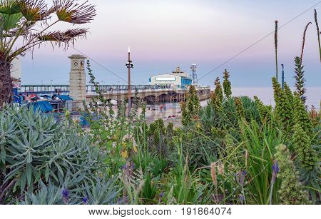 Bournemouth seafront skyline at twilight on a warm summer's evening