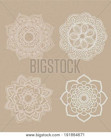 Flower Mandala. Vintage decorative elements. Oriental pattern